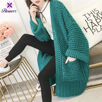 Sweater Cardigan Women Long Loose Korean 2018 Spring Autumn New Plus Size Solid Coarse Wool Knit Long-sleeves Womens Coat LR176