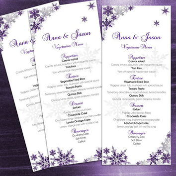 DIY Printable Wedding Menu Template | Editable MS Word file | 4 x 9.25 | Instant Download | Winter Dark Purple Silver Snowflakes