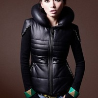 OASAP - Faux Leather Chain Embellished Thick Coat Stuffed Collar - Street Fashion Store