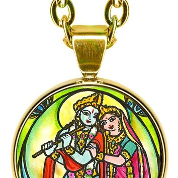 "Radha Krishna for Soul Mate Connections 5/8"" Mini Stainless Steel Pendant with Chain"