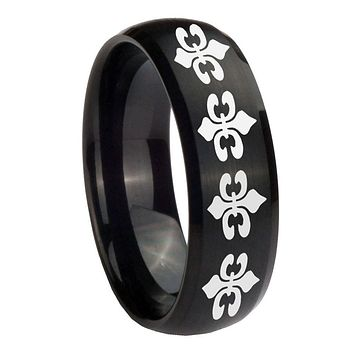 10MM Multiple Fleur De Lis Brush Black Dome Tungsten Carbide Men's Ring