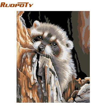 RUOPOTY Otters Animals DIY Painting By Numbers Acrylic Picture Wall Art Canvas Painting Home Decor Unique Gift 40x50cm Artwork