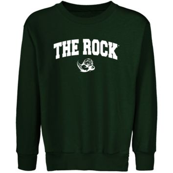 Slippery Rock Pride Youth Forest Green Logo Arch Crew Neck Fleece Sweatshirt - http://www.shareasale.com/m-pr.cfm?merchantID=7124&userID=1042934&productID=555851753 / Slippery Rock Pride