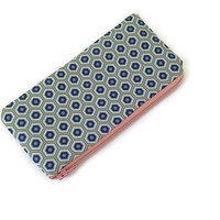 Geometric Zip Pouch - Zip Wallet - Blue Pencil Case - Small Cosmetic Bag - Back to School - Modern Pouch - Purse Organizer - Teachers Gift