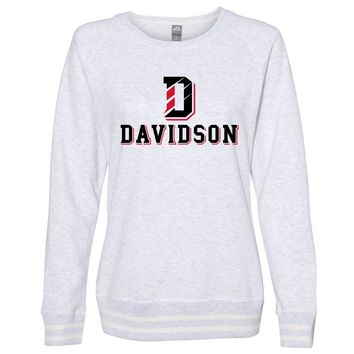 Official NCAA Davidson College PPDSC02 Women's Crewneck Sweatshirt with White Striped Edges
