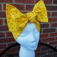 Betties Hair Tie, Pin Up Girl, Rockabilly, Hair Bandana, Yellow Swirls, Headband
