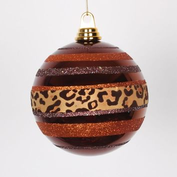 Set of 3 Leopard Print Battery Operated Flameless LED Lighted Flickering Wax Pillar Candle with Remote