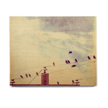 "Sylvia Coomes ""Vintage Birds On A Wire 1"" Brown Vintage Birchwood Wall Art"