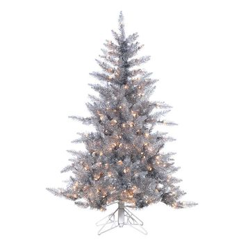 Sterling 4 1/2-ft. Pre-Lit Ashley Silver-Tone Artificial Christmas Tree (Grey)
