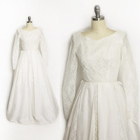 Vintage 1950s Wedding Dress - Ivory Lace+ Organza Full Skirt Gown - XS Extra Small
