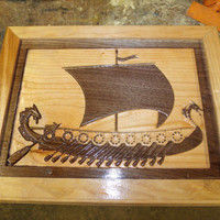 Walnut an Cherry Viking Ship Wall Art Carving Frame