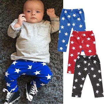Stars Printed Newborn Baby Boy Girls Long Pants 3 Colors Baby Cotton Clothes Autumn Outwear Sets Cute Harem Pants Trousers