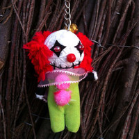 Pennywise Clown String Voodoo Doll Funny Keyring Keychain Key Ring Key Chain Bag Car Decor