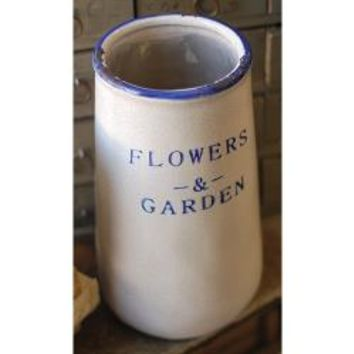 "White/Blue Ceramic Container, 6"" x 10½"" - *FREE SHIPPING*"