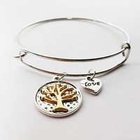 Designer  Charm Bracelet with Tree of Life & Heart with Love Charms