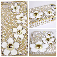 Daisy Flowers Bling Crystal Rhinestone Cell Phone Case for iPhone 5/5S, iPhone 4/4S, Samsung Galaxy S4/S3/Note, Features White Pearls