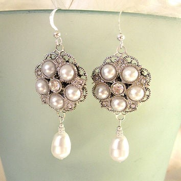 Vintage Bridal Pearl Chandelier Earrings,  Rhinestone Earrings, 1920s Wedding Earrings - LAUREN with PEARL DROP