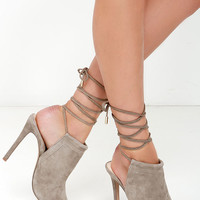 Steve Madden Sophie Taupe Suede Leather Leg Wrap Heels
