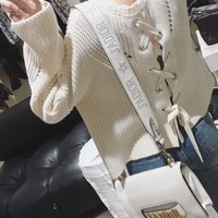 White Lace Up Back Long Sleeve Knit Sweater