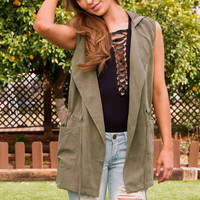 Kacy Hooded Vest - Olive
