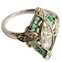 1STDIBS.COM Jewelry & Watches - French art deco diamond and emerald ring - Elle W Collection
