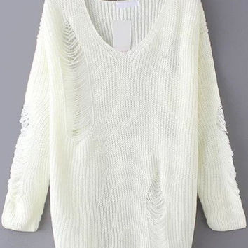 Ripped Sweater with V Neck in White Trendy Sweater
