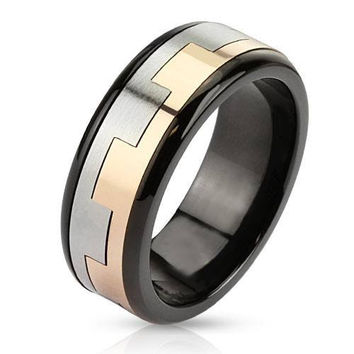 Castle Wall – FINAL SALE Tri Tone Black Silver Rose Gold Stainless Steel Square Link Pattern Spinner Ring