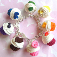 polymer clay rainbow cupcake charm bracelet by ScrumptiousDoodle