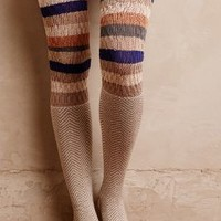 Lemon Chevron Stripe Over-The-Knee Socks in Neutral Motif Size: One Size Socks