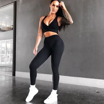 Knitted Tracksuit for Women Two Piece Sets Sexy Push Up Bra and High Waist Leggings Pants Fitness Workout Sportswear Female Sets