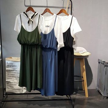summer woman chiffon spaghetti strap jumpsuits Rompers solid loose wide leg jumpsuits  ankle length