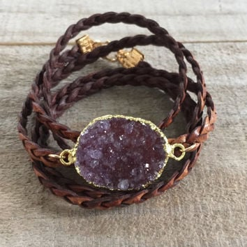 Druzy Bracelet, Leather Druzy Wrap Bracelet, Drusy Bracelet, Druzy Quartz Jewelry, Natural Antique Brown Leather