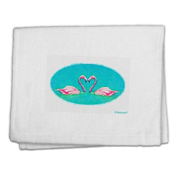 "Love Birds - Flamingos Watercolor 11""x18"" Dish Fingertip Towel"