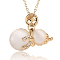 MLOVES Women's Classical Delicate Opal Creative Gourd Pendant Necklace