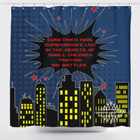 Superhero Shower Curtain - Superheroes Town Curtain - Personalize your own Curtain - Bathroom Curtain