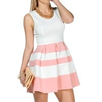 Ivory/Pink Sleeveless Skater Stripe Dress