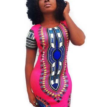 Traditional African Print Mini Dashiki Dress Short Sleeve Bohemian Vestido Bodycon