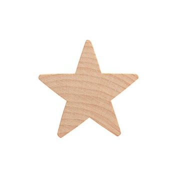 "1-1/2"" Wood Star, Natural Unfinished Wood Star Cutout Shape (1-1/2 inch) - Bag of 25"