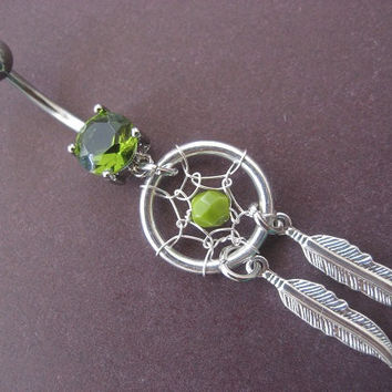 Belly Button Jewelry- Chartreuse Green Dream Catcher Ring Beaded Silver Feather Dangle Dreamcatcher Navel Piercing Bar