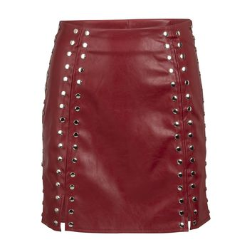 Red Faux Leather Studded Mini Skirt