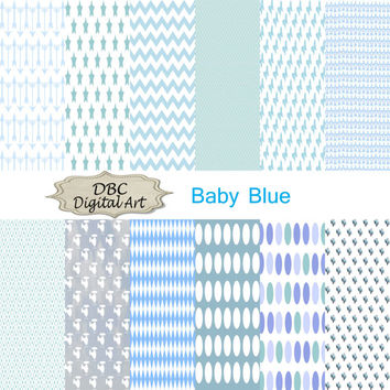 Boy  Baby Blue Digital Paper, Scrapbooking, Scrapbooking paper, Background With Car, Polka dots, Stars, Circles, Helicopter, Arrows