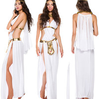 White Greek Goddess Costume Long Dress Halloween Fancy Party Sale !!!!