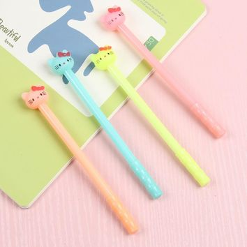 8 pcs/lot Kawaii Hello Kitty gel pens for writing Cute candy color black ink signature pen school supplies canetas lapices