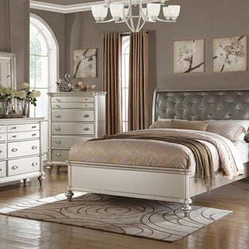 Poundex F9317Q 5 pc patricia iii collection silvery tone wood finish with upholstered tufted headboard queen bedroom set
