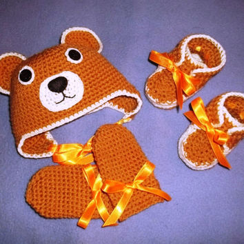 Newborn Knitting Set Baby Teddy Bear Made to Order Boy Girl Hat Booties Mittens