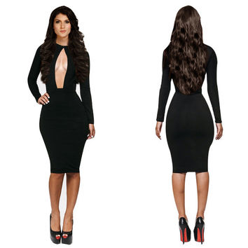 Black Halter Neck Long Sleeve Front Cut Out Bodycon Midi Dress