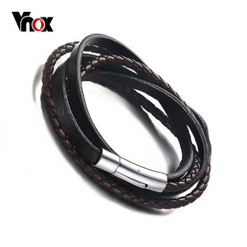 Vnox Men's Braided Leather Rope Woven Wrap Surfer Cuff Bracelet Punk Genuine Leather Bracelets & Bangles with Magnet Clasp