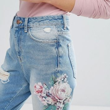 New Look Floral Embroidered Mom Jean at asos.com