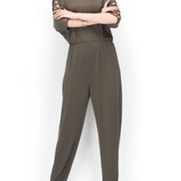 Naked Zebra Jumpsuit with Cut Out Sleeves NR8719