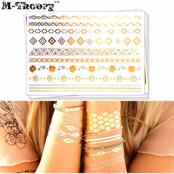 M-theory Metallic Golden Temporary Tattoos Body Arts Flash Tatoos Sticker 21*15cm Waterproof Summer Bikini Swimsuit Dress Makeup